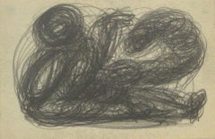 Monochromatic Swirled Graphite Abstract, Early-Mid 20th Century