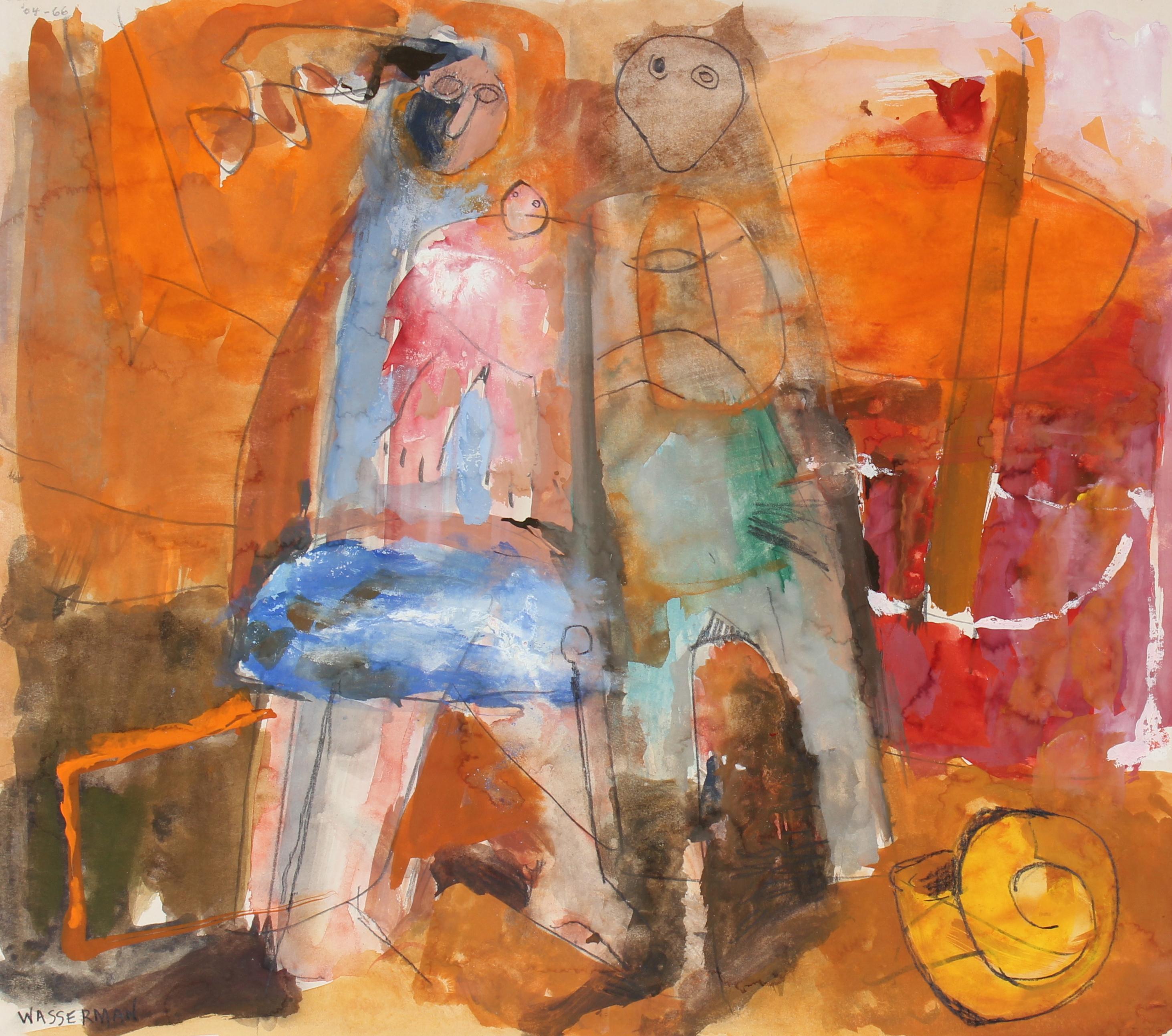 Warm Abstract Figurative Scene, 20th Century, Gouache and Graphite