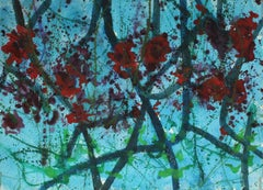 Cool Abstracted Trees Mid 20th Century Watercolor