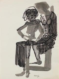 Figure in a Fancy Costume 1960-80s Ink
