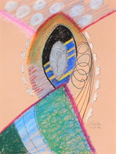 Bright Surreal Path & Archway 1986 Oil Pastel and Graphite