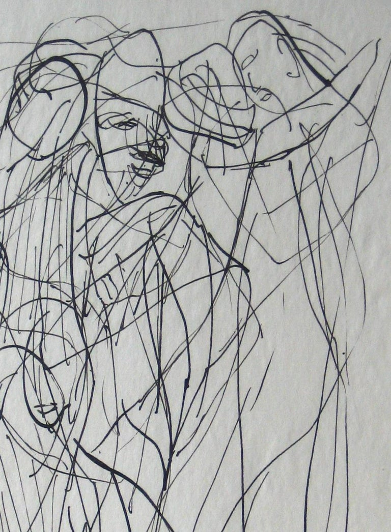 Abstracted Figures in a Scene Early 20th Century Ink on Paper - Art by Jennings Tofel