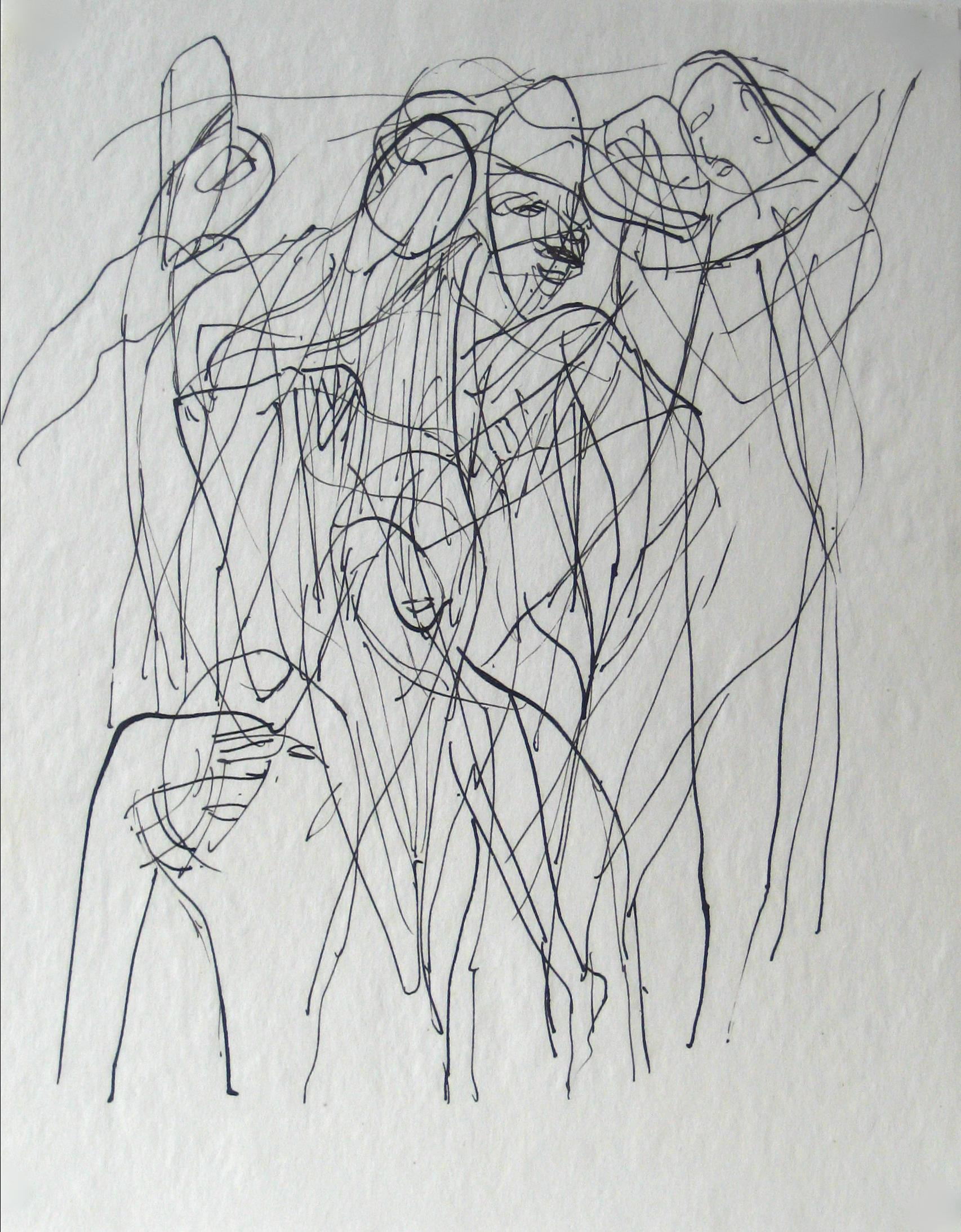 Abstracted Figures in a Scene Early 20th Century Ink on Paper