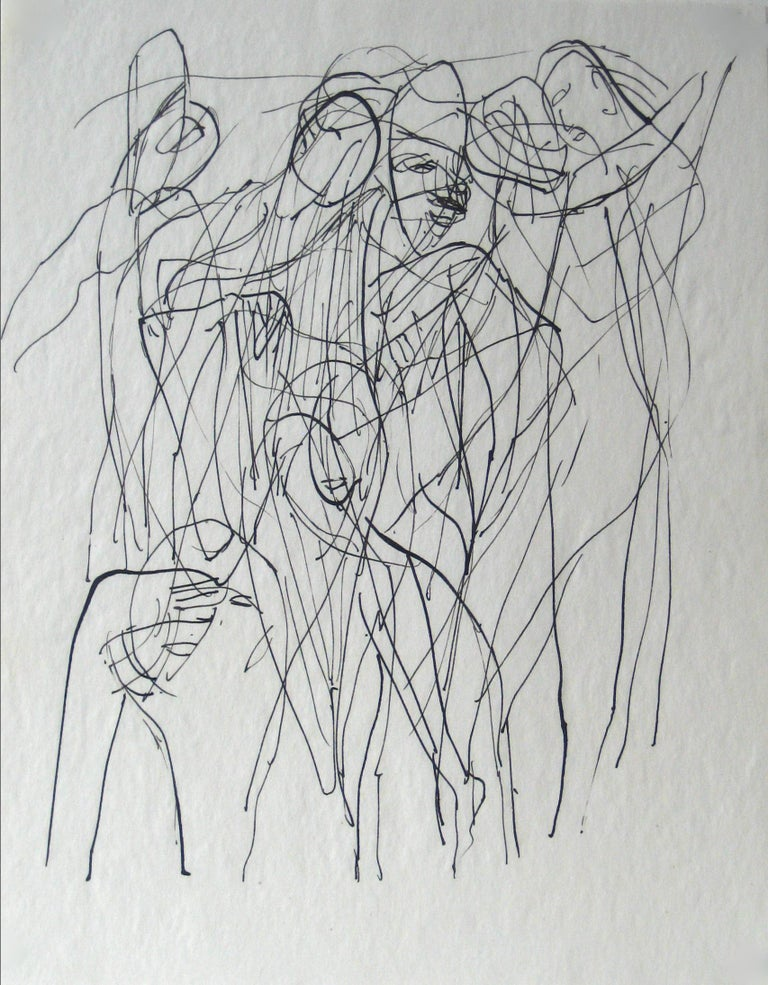 Jennings Tofel Figurative Art - Abstracted Figures in a Scene Early 20th Century Ink on Paper