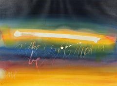 Colorful Abstracted Text Late 20th Century Watercolor
