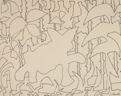 Bold Foliage Abstracted Outlines Late 20th Century Ink