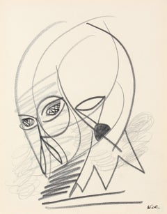 Abstract Figurative Study Late 20th Century Graphite