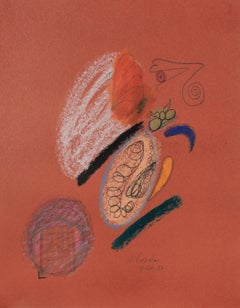 Colorful Abstract Sketch 1986 Pastel