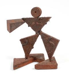 Vintage Geometric Figurative Multi-Media Metal Sculpture