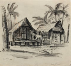 """Letey"" 1945 Charcoal Beach Scene with Palm Trees"