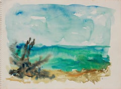 Serene Abstracted Beach Scene 1940-50s Watercolor