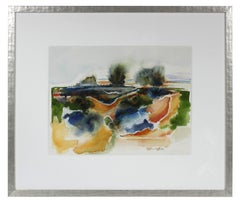 """Sonoma Beach, CA"" 20th Century Watercolor Abstract Landscape"