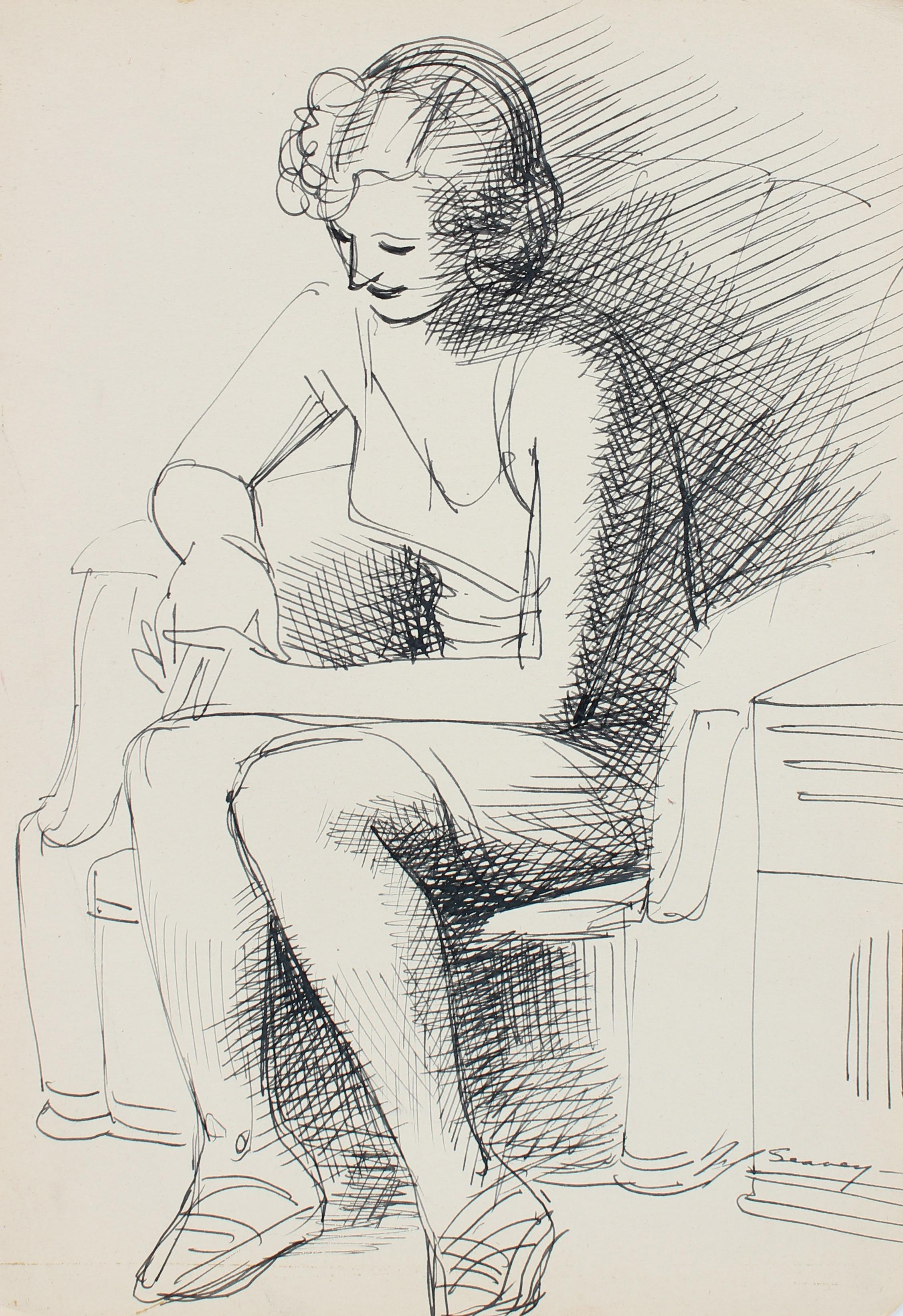 Black & White Ink Illustration 1930-40s