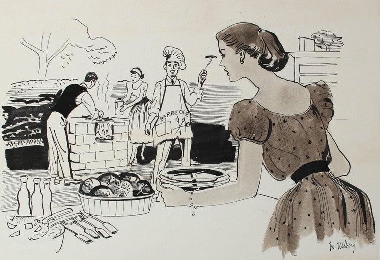 Marjorie Ullberg Figurative Art - Summertime Barbeque Ink 1946-54