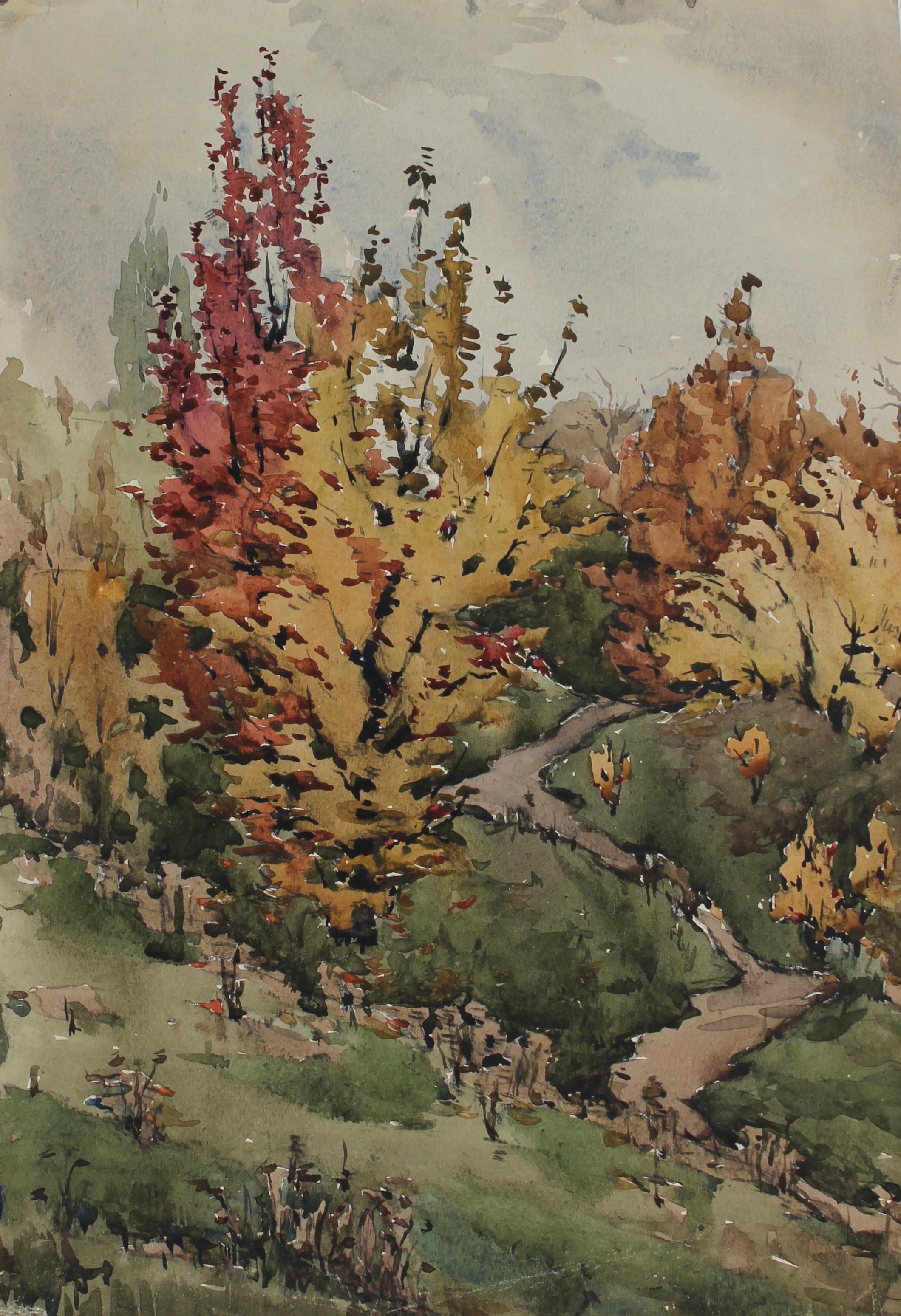 Autumn Trees 1970s Soviet Impressionist Watercolor