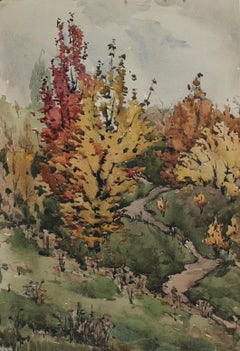 Autumn Trees 1970s Soviet Impressionist Watercolor