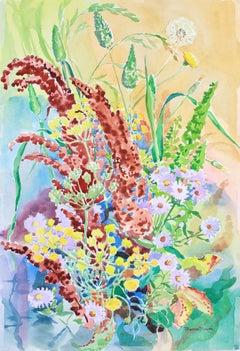 """Autumn Array"" 1983 Colorful Watercolor Botanical Still Life Flowers"