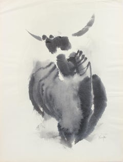 Horned-Animal Deconstruction 1960-80s Watercolor