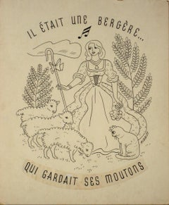 """The Shepherdess"" 1930-60s Ink Illustration Drawing"