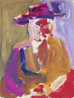 Bay Area Figurative Abstracted Figure with Hat 1950-60s Distemper