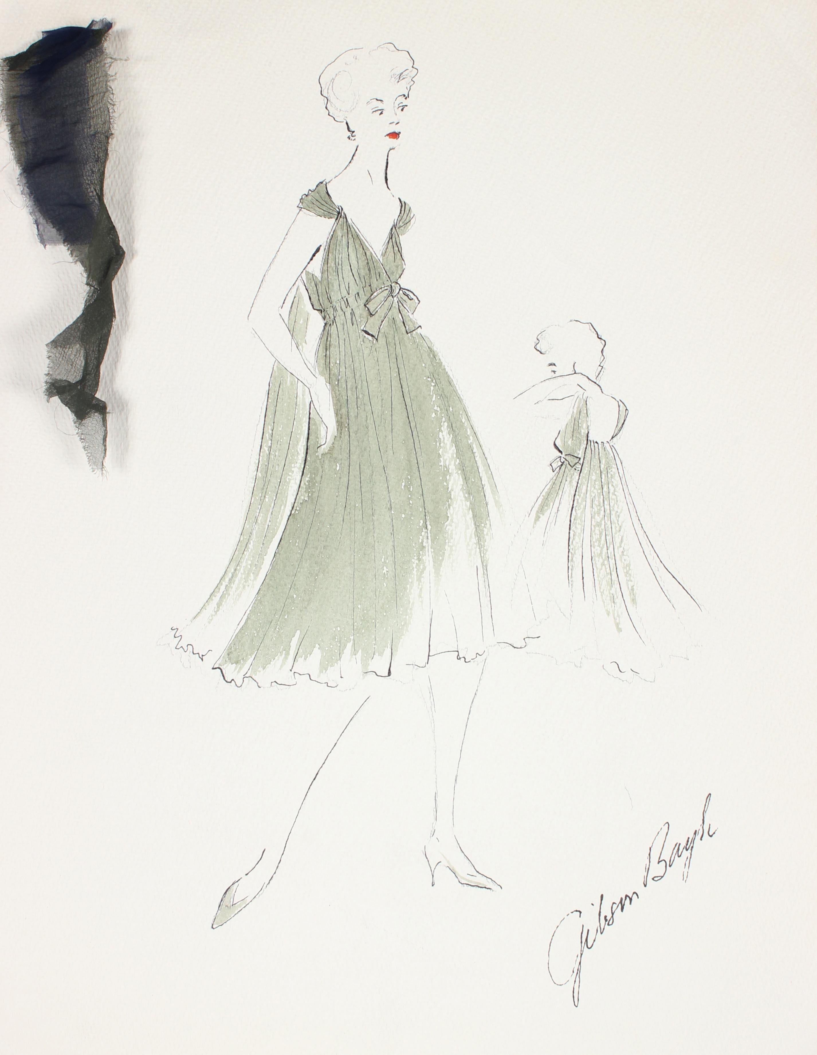 Flowy Olive Green Dress Gouache & Ink 1950's Fashion Illustration