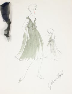 Flowy Olive Green Dress Gouache & Ink 1950's Fashion Illustration