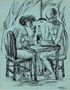 Couple Drinking 1956 Ink on Mint Green Cardstock