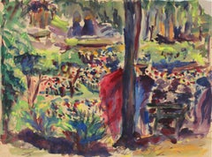 Abstracted Park Scene 1940s Watercolor