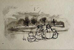 Figures by the Coast 1960s Ink Wash