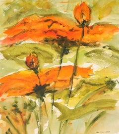 Fiery Flowers 1960-70s Watercolor