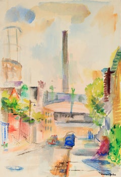 Vibrant Abstracted City Scene Mid Century Watercolor
