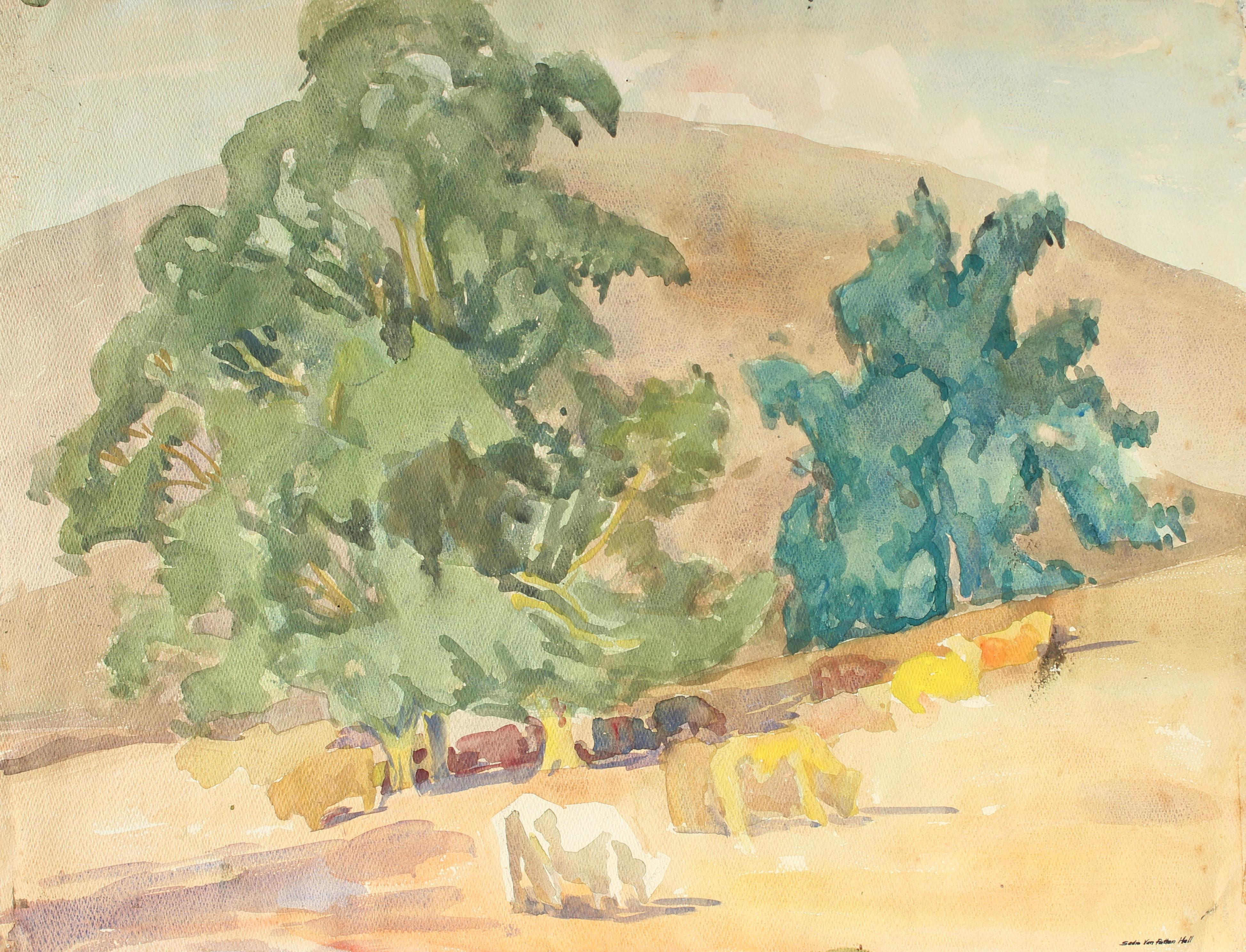 Mid Century Watercolor California Landscape with Cows