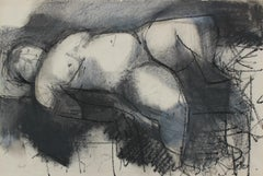 """Reclining Nude"" Expressionist Mid Century Charcoal"