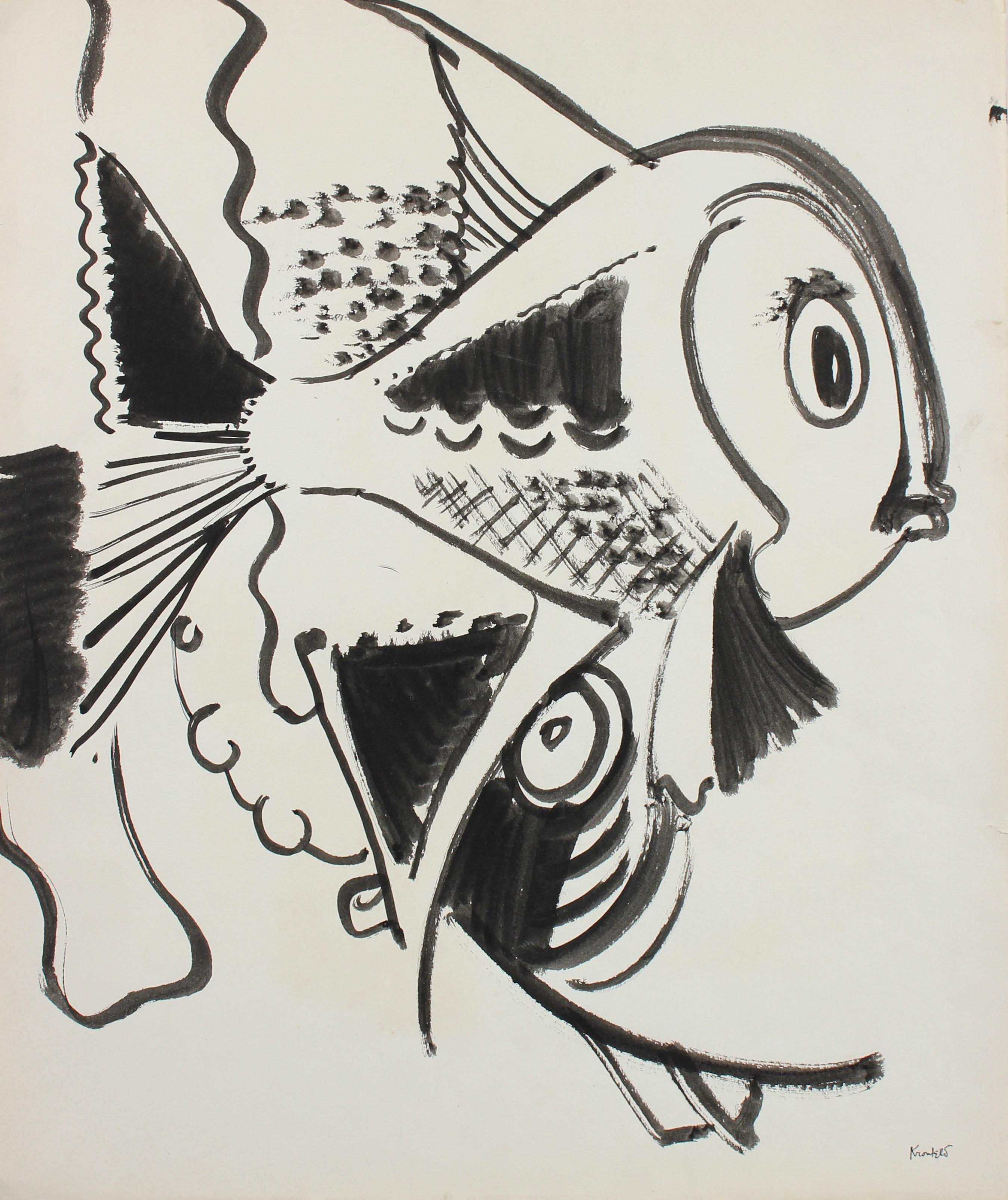 Playful Depiction of Fish 1960-80s Ink