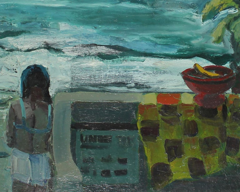 Expressionist Figure by the San Francisco Bay 1960s Oil - Painting by Hal Parker
