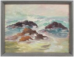 Rocky Coastal Waves Early 20th Century Oil
