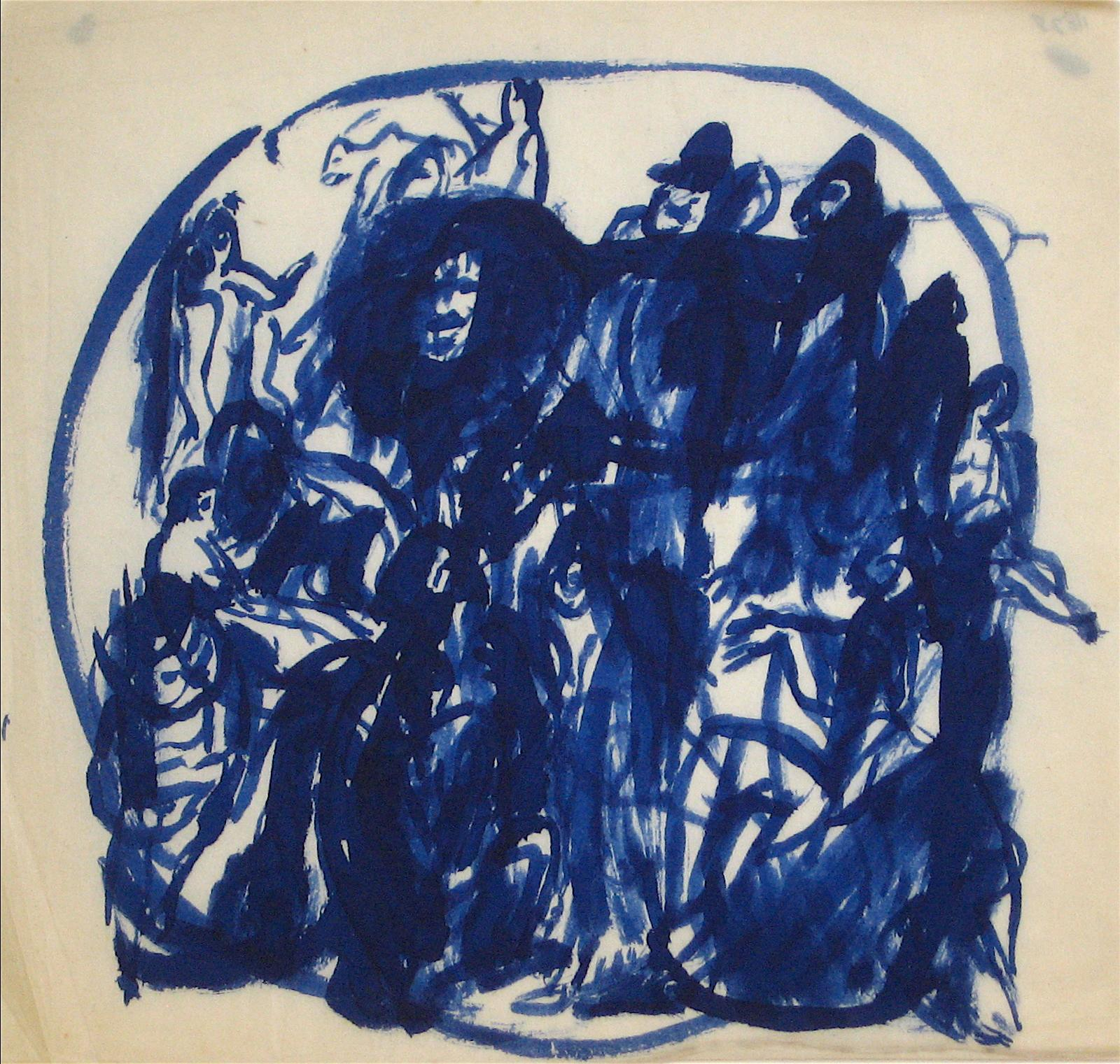 Blue Figures in a Circle Early-Mid 20th Century Ink Wash