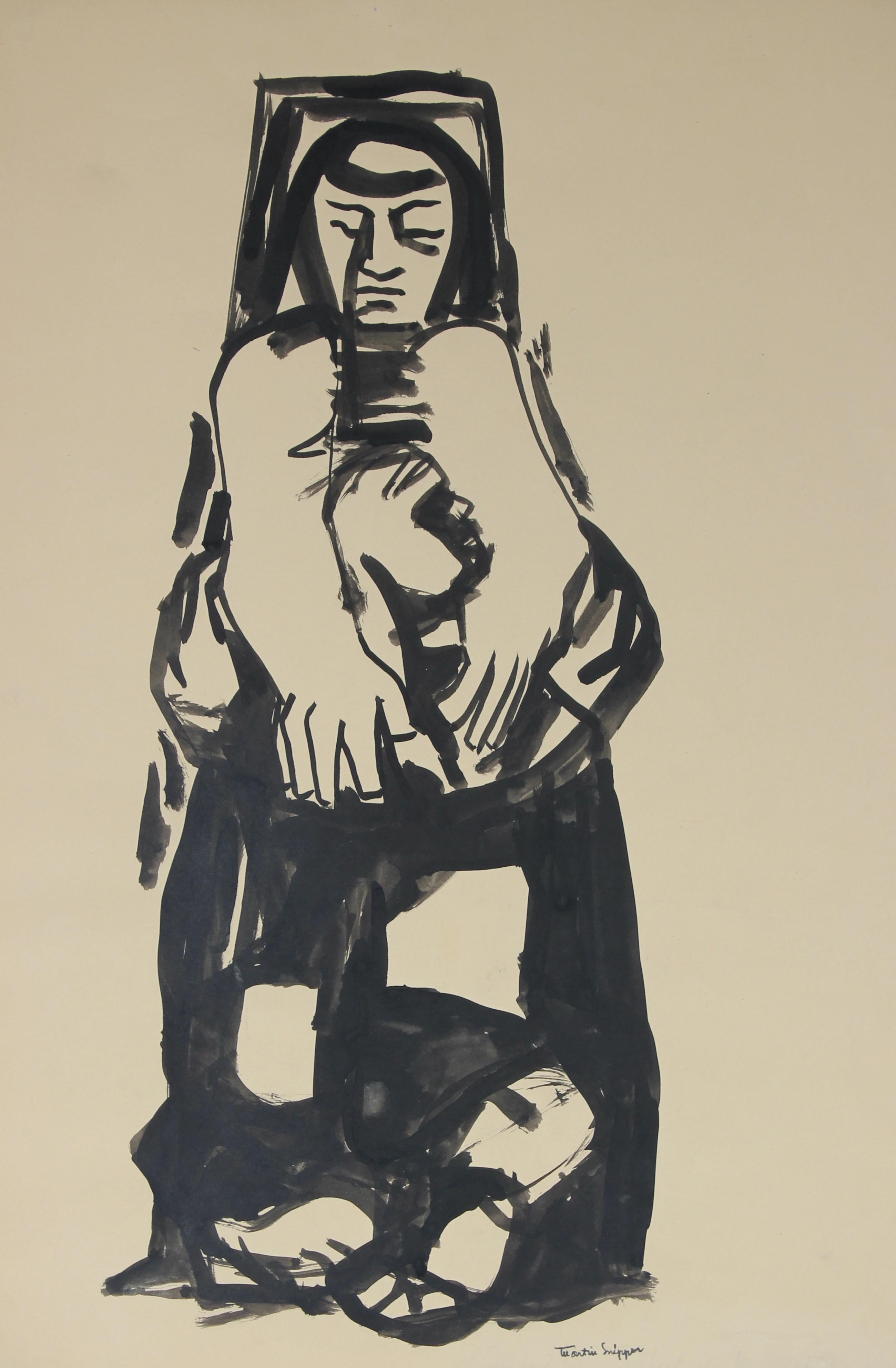 Woman In Introspection Mid Century Ink