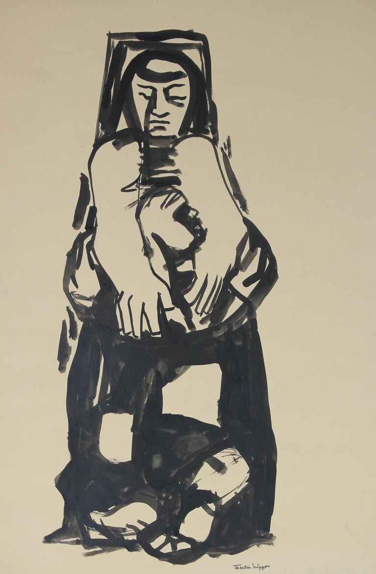 Martin Snipper Figurative Art - Woman In Introspection Mid Century Ink