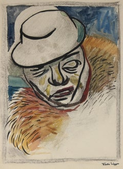 Figure In A Hat Mid Century Watercolor & Charcoal