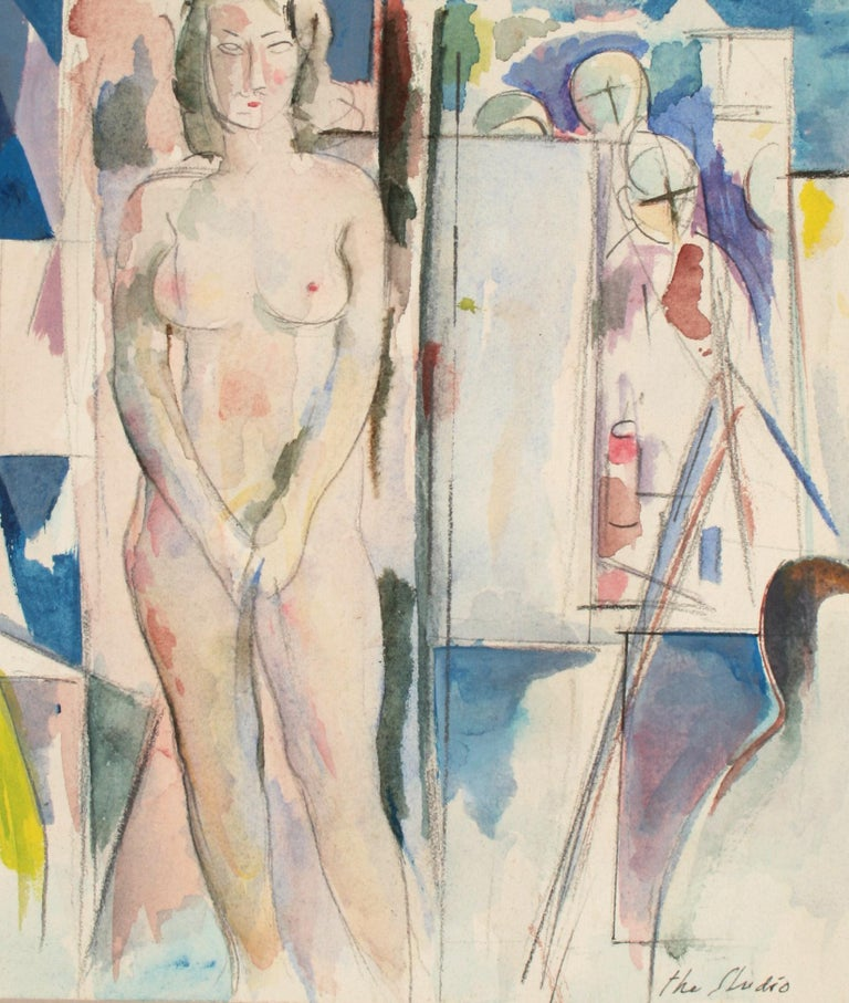 """Schuyler Standish Nude - """"The Studio"""" Late 20th Century Colorful Watercolor and Graphite"""