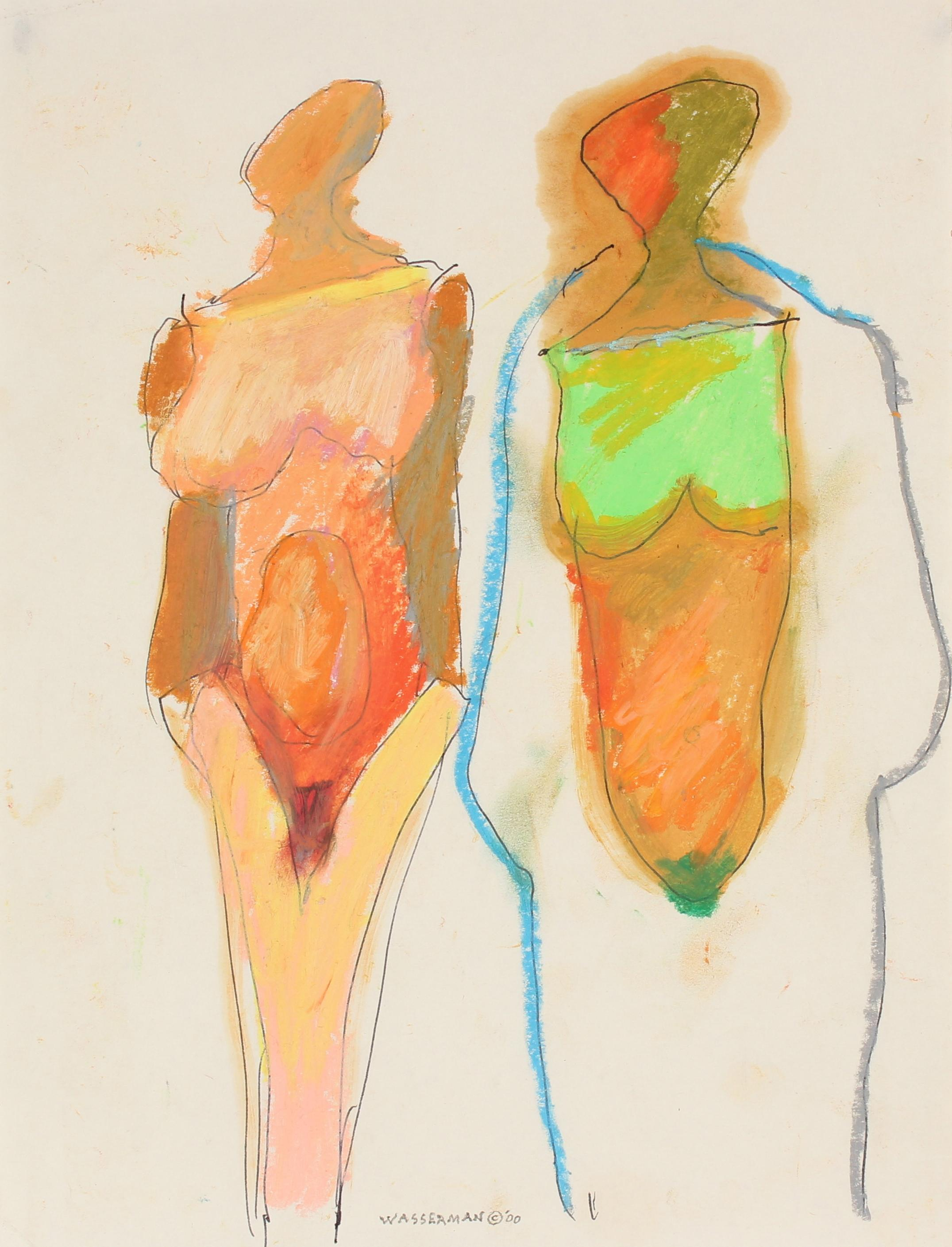 Colorful Abstracted Figures Circa 2000 Pastel and Ink