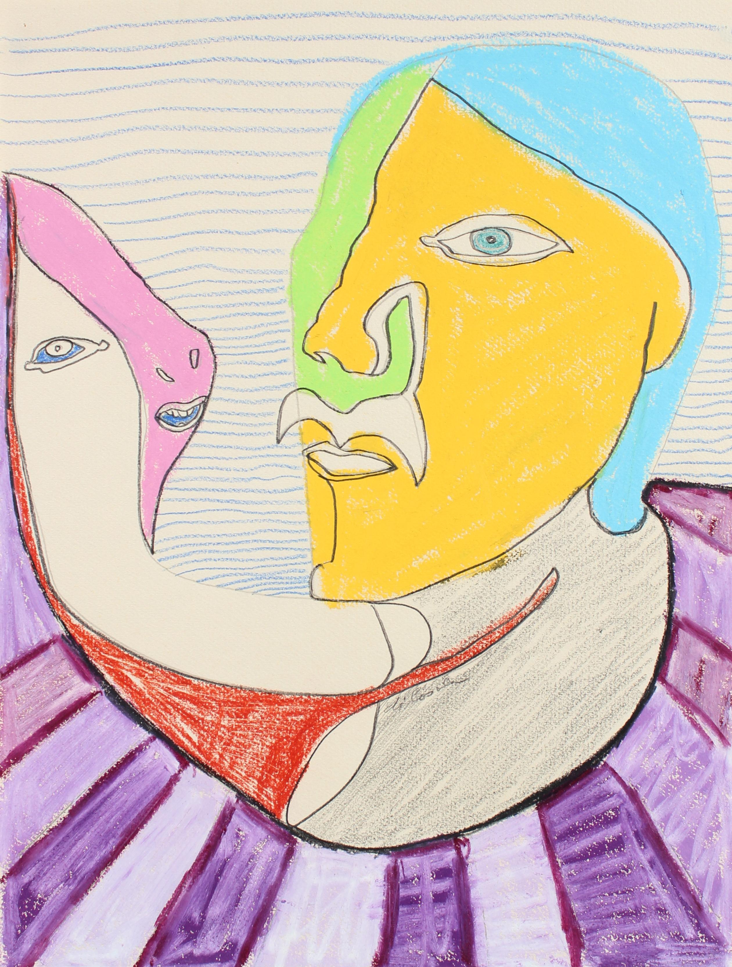 Surreal Faces Conversing Late 20th Century Pastel & Graphite