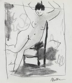 Woman with Chair Study 20th Century Charcoal