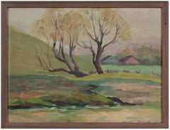 Impressionist Farm Scene Early 20th Century Oil