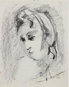 Loose Portrait Abstraction 1940-60s Charcoal