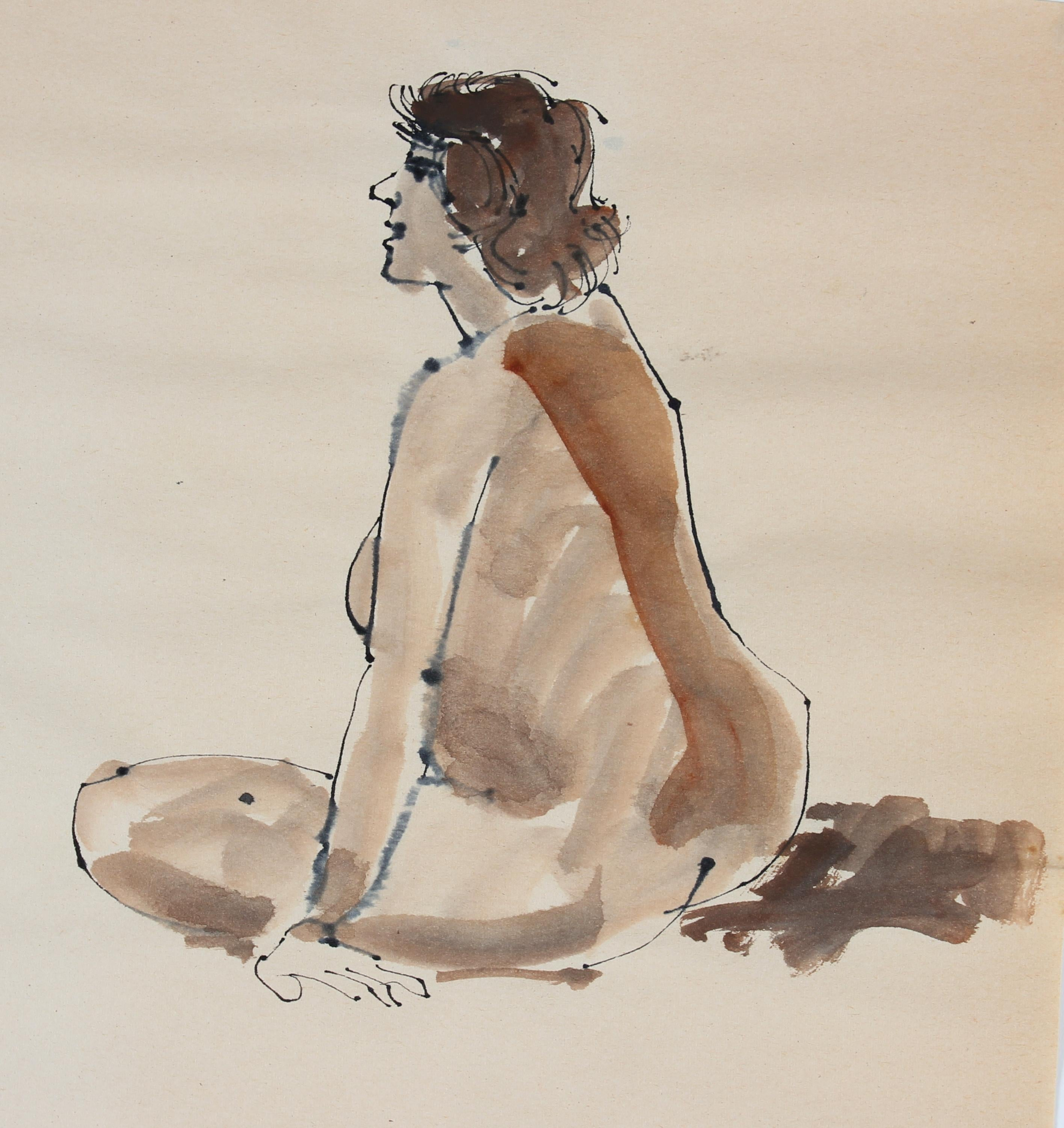 Warm Toned Seated Nude 1965 Ink & Watercolor
