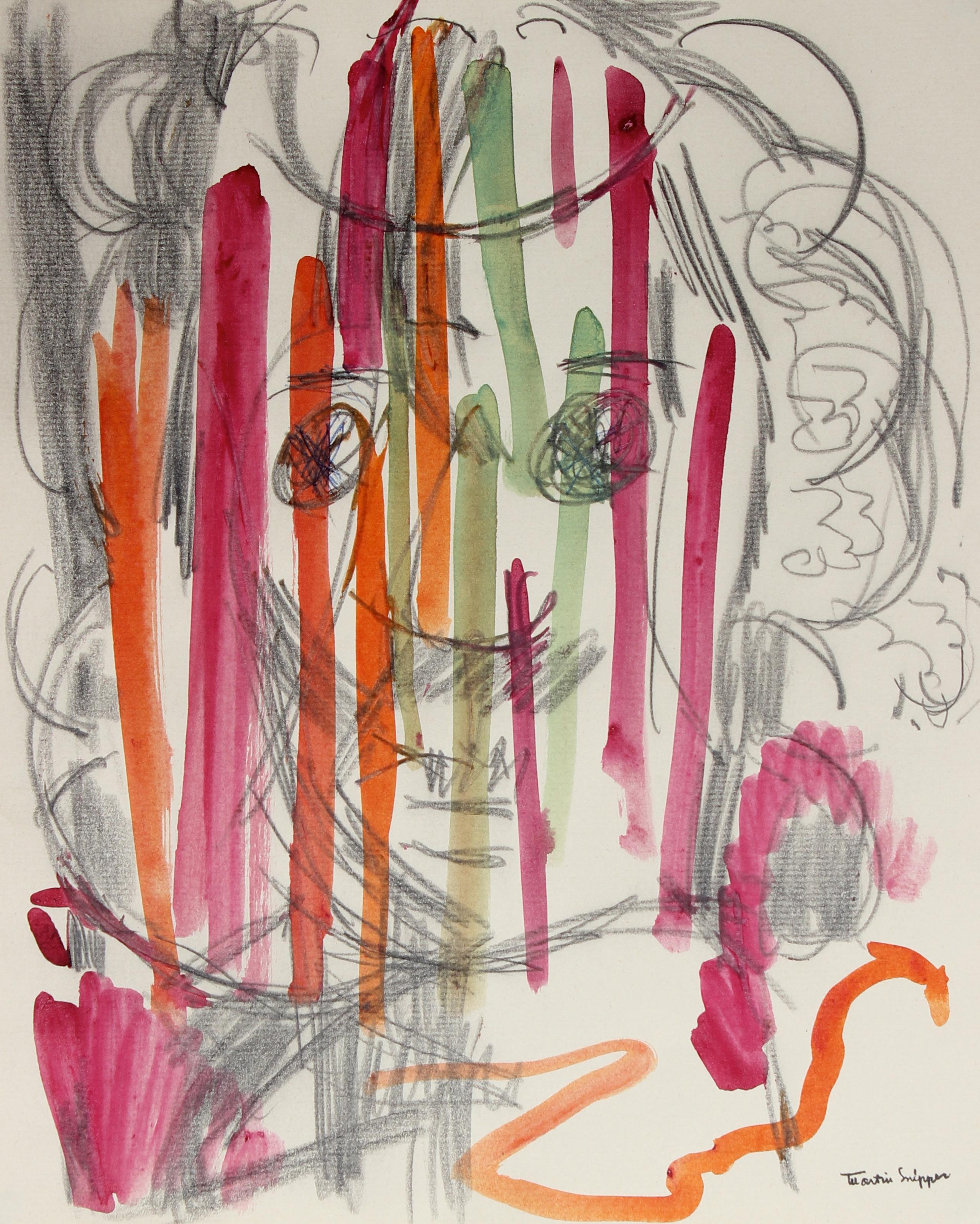 Monochromatic Portrait Abstracted By Color Mid Century Graphite & Watercolor
