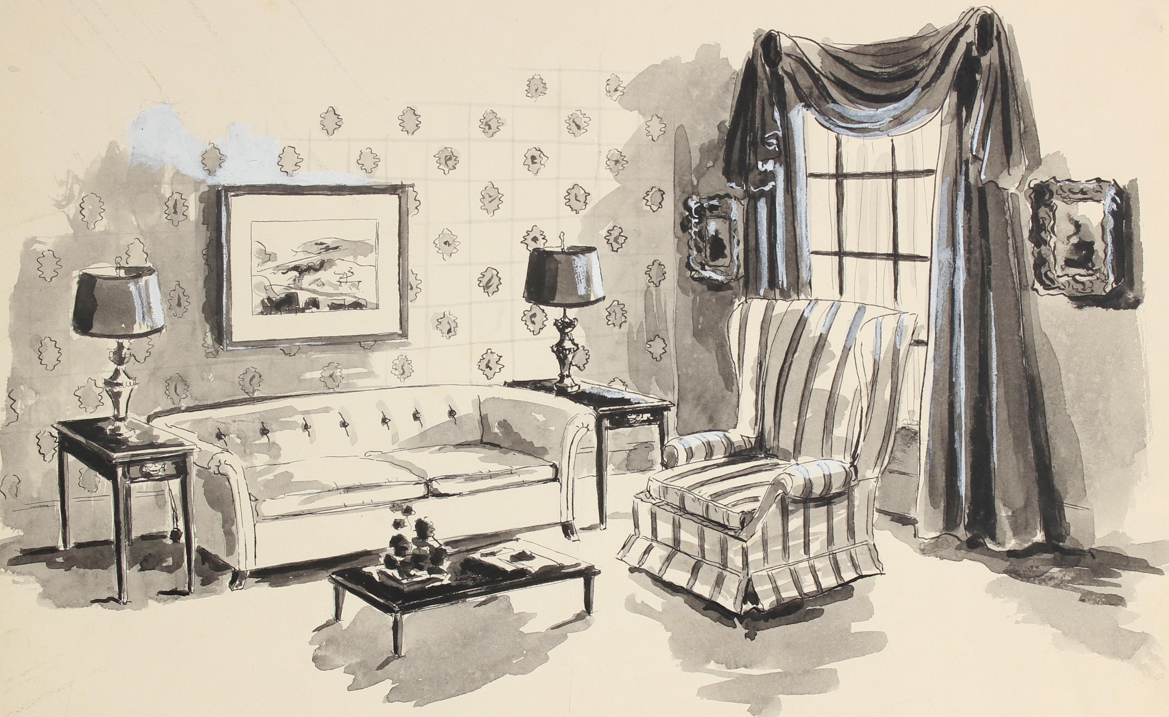 Classic Interior Still Life Mid Century Ink