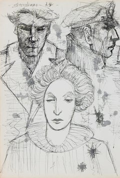 Portrait Drawing of Three Heads Late 20th Century Ink